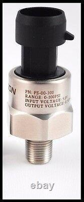 100PSI Stainless Fuel Oil Pressure Sensor Sender Connector pigtail 1/8 NPT 4an